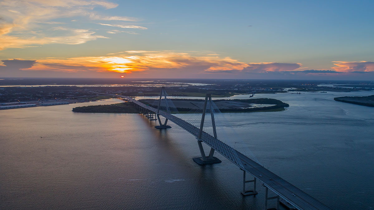 Charleston SC Ravenel Bridge at Sunset